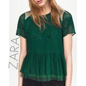 NWT ZARA green swiss dot embroidered peplum top L